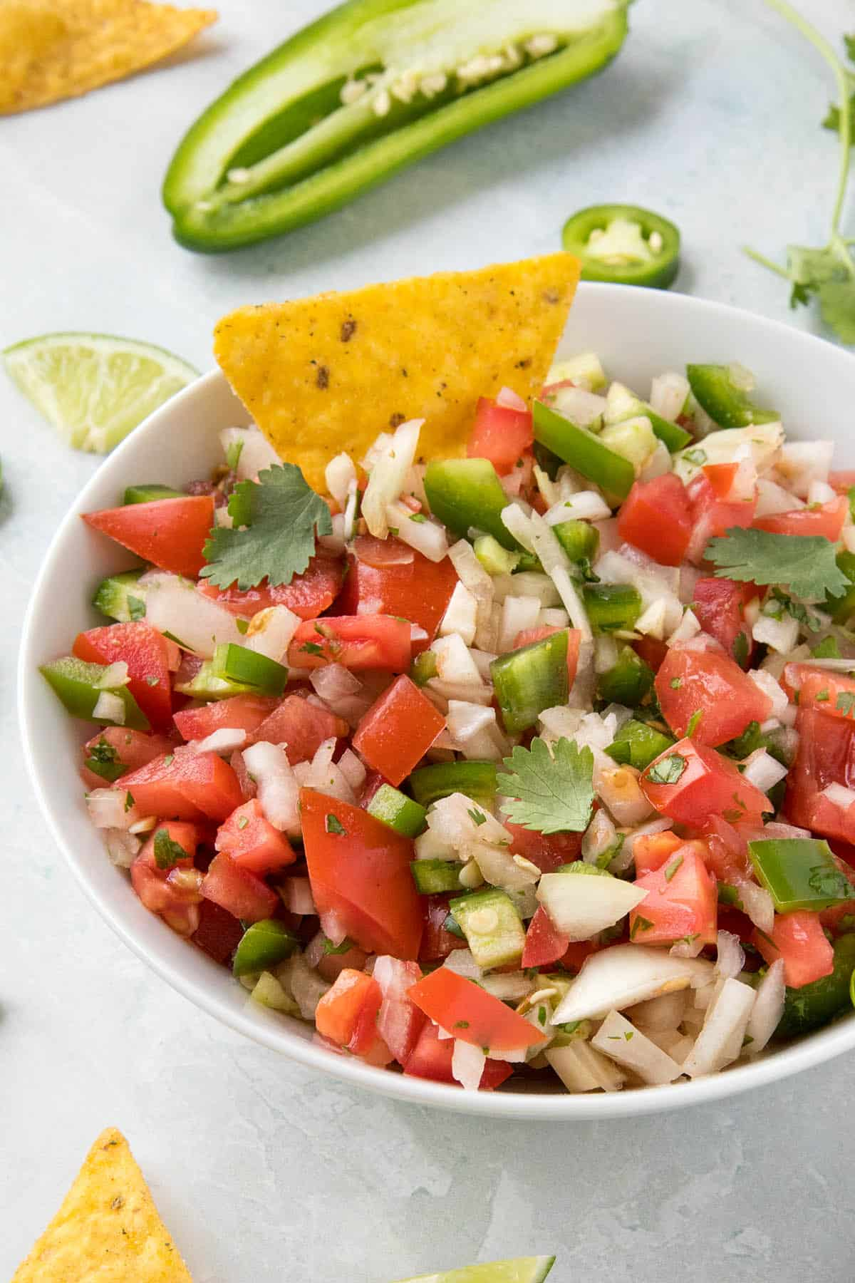 Vibrant, colorful Pico de Gallo with chips