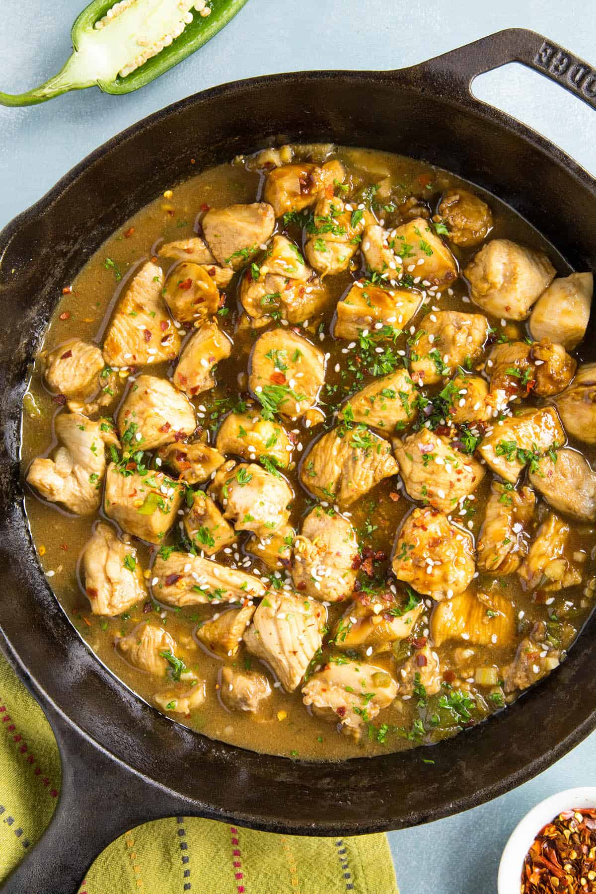 Teriyaki Chicken in a pan, ready to serve