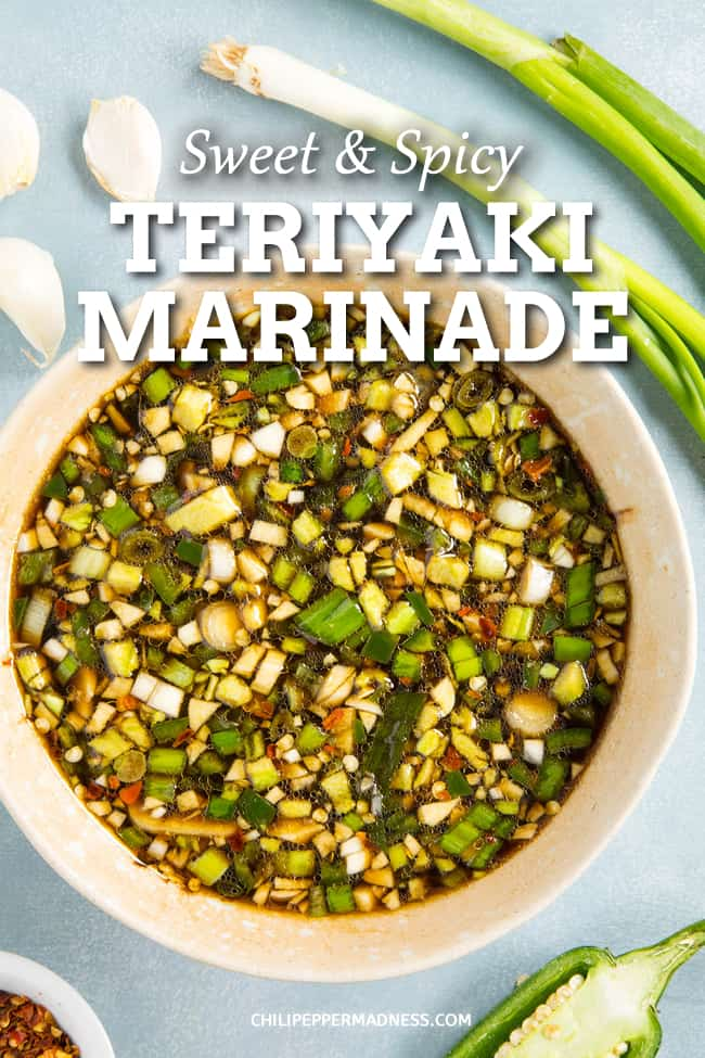 Sweet and Spicy Teriyaki Marinade Recipe - This teriyaki marinade recipe is both sweet and slightly spicy, perfect for marinating chicken, pork, shrimp or fish. You can't beat the perfect homemade marinade. #Marinade #ChickenMarinade #Teriyaki