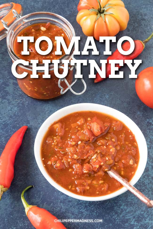 Tomato Chutney Recipe - This step by step tomato chutney recipe will have you making chutney in no time, made with fresh tomatoes, optional chilies, vinegar and spices. #Chutney #Tomatoes