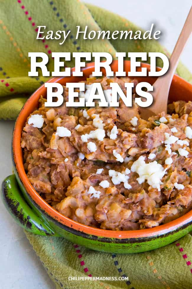 Easy Homemade Refried Beans - With this homemade refried beans recipe, you\'ll have zesty, creamy refried beans in no time, perfect for a side dish, tacos, huevos rancheros and more. #MexicanFood #SideDish