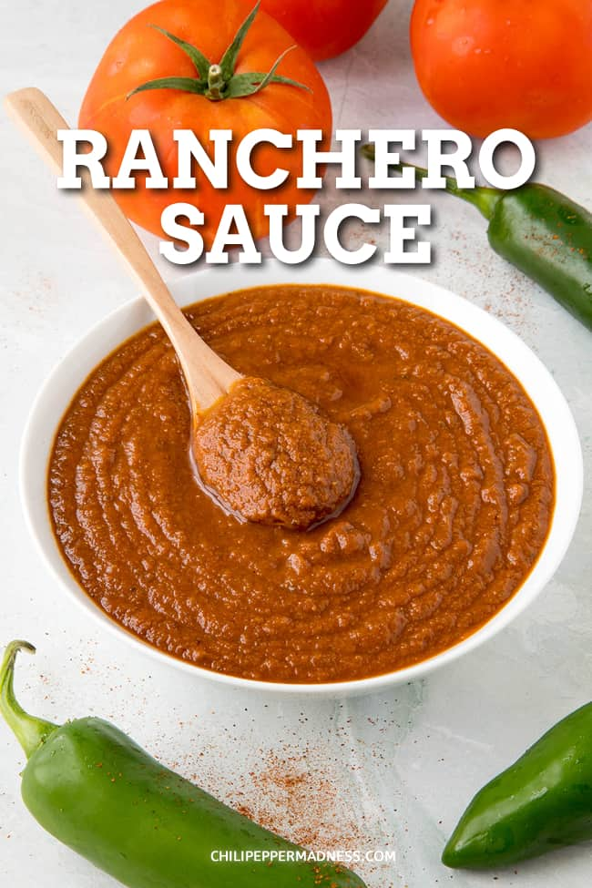 Ranchero Sauce Recipe - How to Make It - This is the best ranchero sauce recipe I have ever tasted, with  a base of diced tomato, jalapeno and onion, seasoned with a mixture of chili powders and seasonings. Perfect on huevos rancheros or any Mexican or Tex Mex dish. #Sauce #TomatoSauce