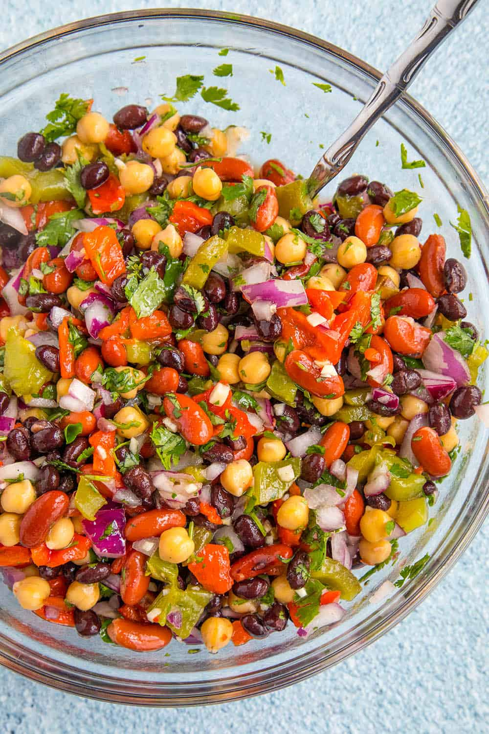 Mike's Zesty Three Bean Salad, freshly mixed in a mixing bowl