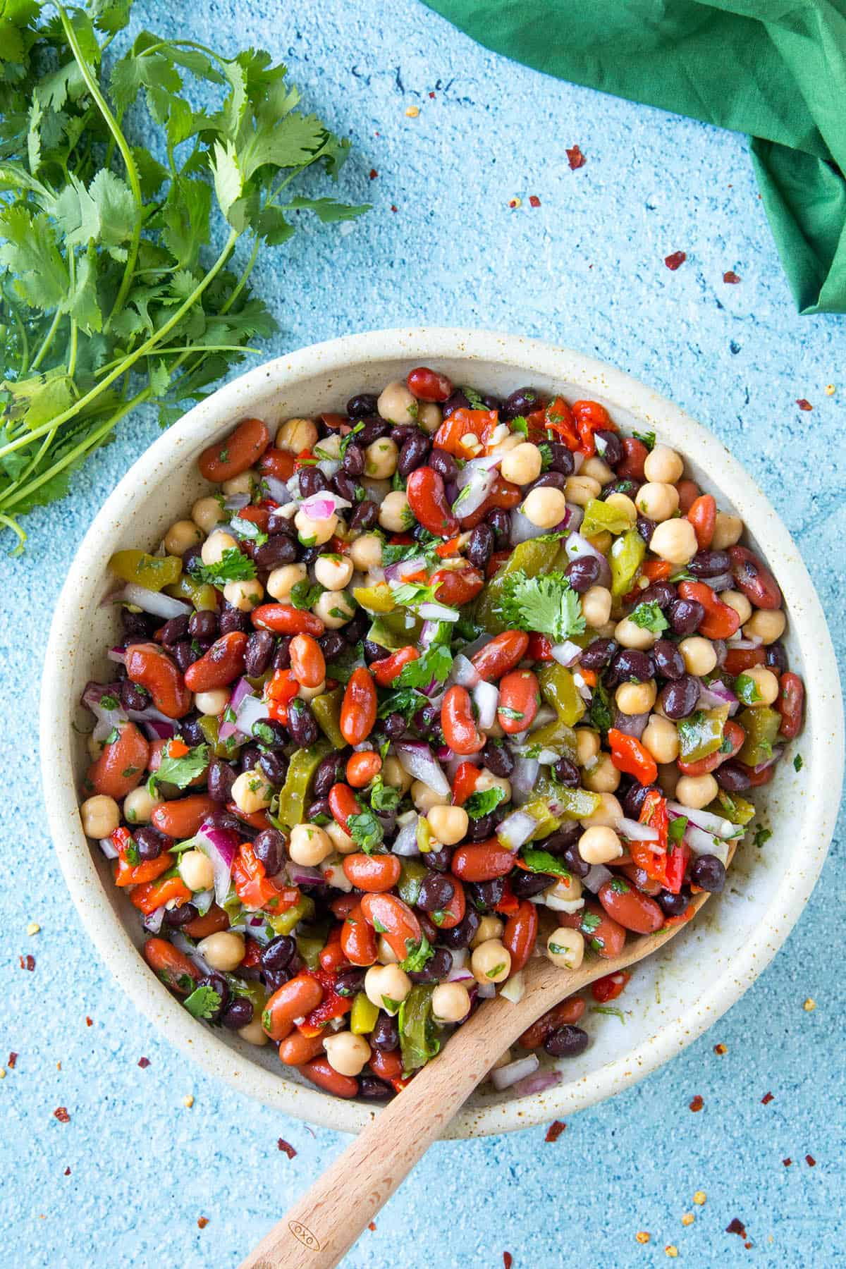 Mike's Zesty Three Bean Salad in a bowl, ready to serve