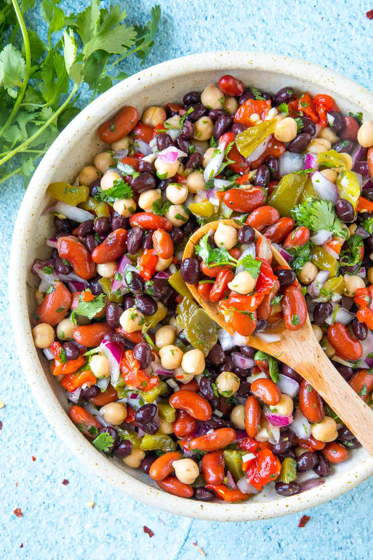 Mike's Zesty Three Bean Salad in a bowl