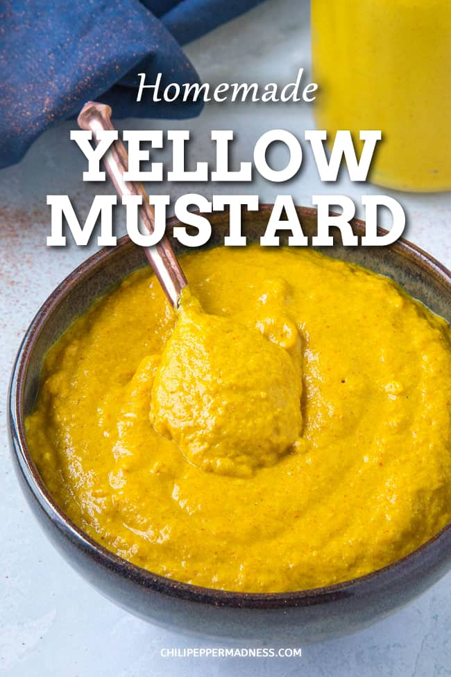 Homemade Yellow Mustard Recipe - With this homemade yellow mustard recipe, you\'ll never need to buy overprocessed yellow mustard again. All you need is mustard powder, water, vinegar, and a few other optional ingredients. #Mustard #Condiments