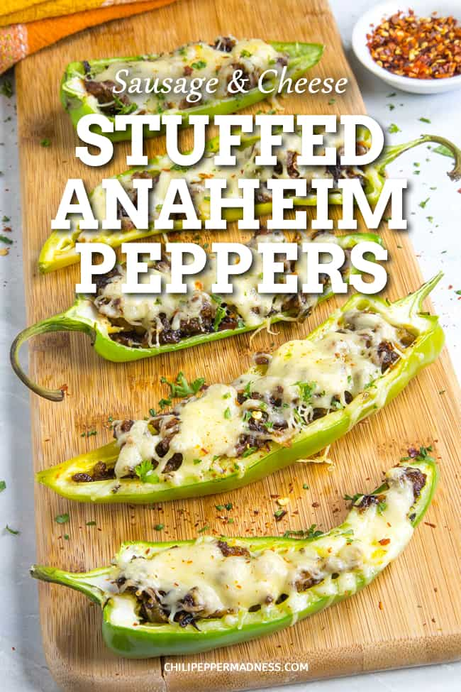 Sausage and Cheese Stuffed Anaheim Peppers - A recipe for mild Anaheim peppers stuffed with seasoned Italian sausage and melty cheese, perfect for grilling or baking. A quick and easy weeknight meal. #StuffedPeppers #EasyMeals