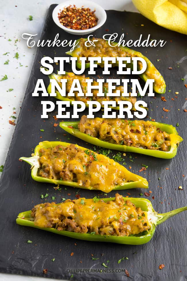 Turkey and Cheddar Stuffed Anaheim Peppers - Stuffed peppers for dinner? Try this stuffed Anaheim peppers recipe filled with ground turkey and cheddar cheese, topped with your favorite hot sauce. #StuffedPeppers #AnaheimPeppers