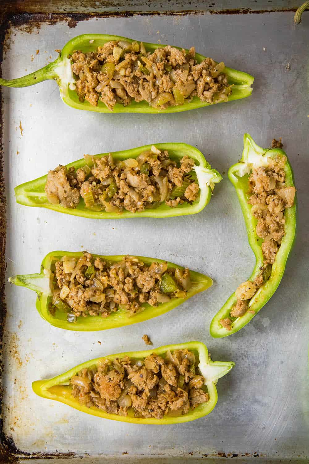 Anaheim peppers stuffed with ground turkey