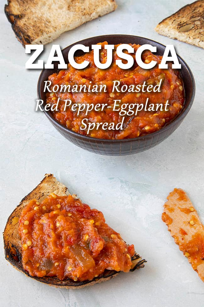Zacusca Recipe: Romanian Roasted Eggplant and Red Pepper Spread - Zacusca is a Romanian vegetable spread made primarily from roasted eggplant and red peppers. It is popularly served as a spread on bread, but also as a relish for meats. #Romanian #Spread #RoastedRedPepper
