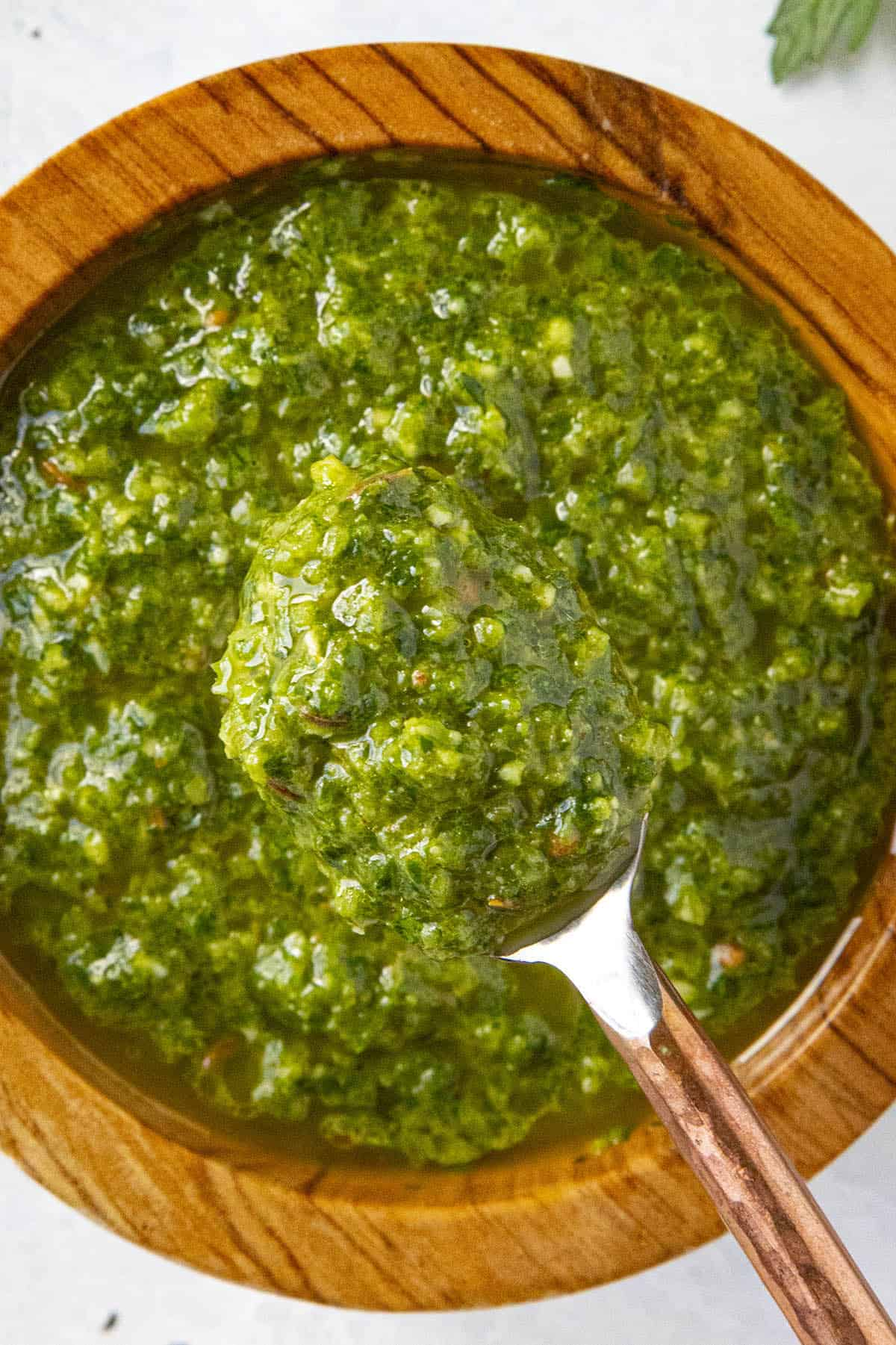 Close up of Green Harissa on a spoon, displaying the texture