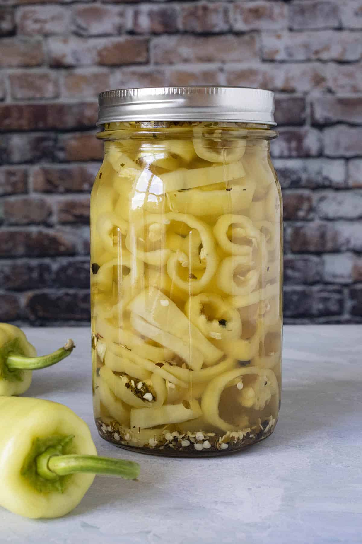 Pickled Banana Peppers in a jar