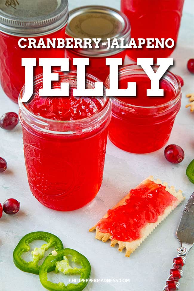 Cranberry-Jalapeno Jelly - Craving a sweet jelly? This easy-to-make jelly cranberry pepper jelly recipe  is made with jalapeno peppers and fresh cranberries. It is both delicious and sweet. Great for a quick spread or even as a glaze. #pepperjelly #jalapenojelly #cranberryjelly #spicyjelly