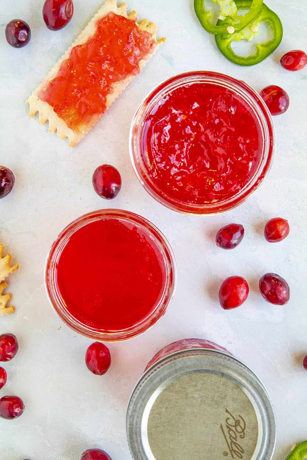 Cranberry Jalapeno Jelly in jars