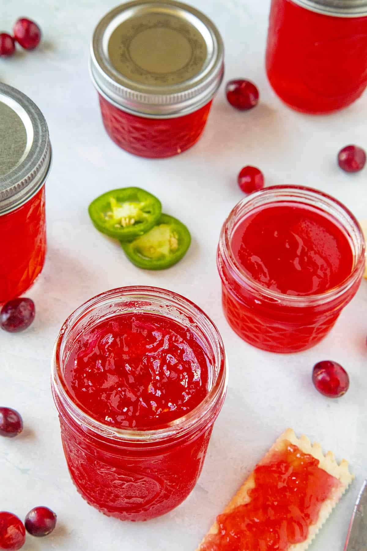 Cranberry Jalapeno Jelly, ready to serve