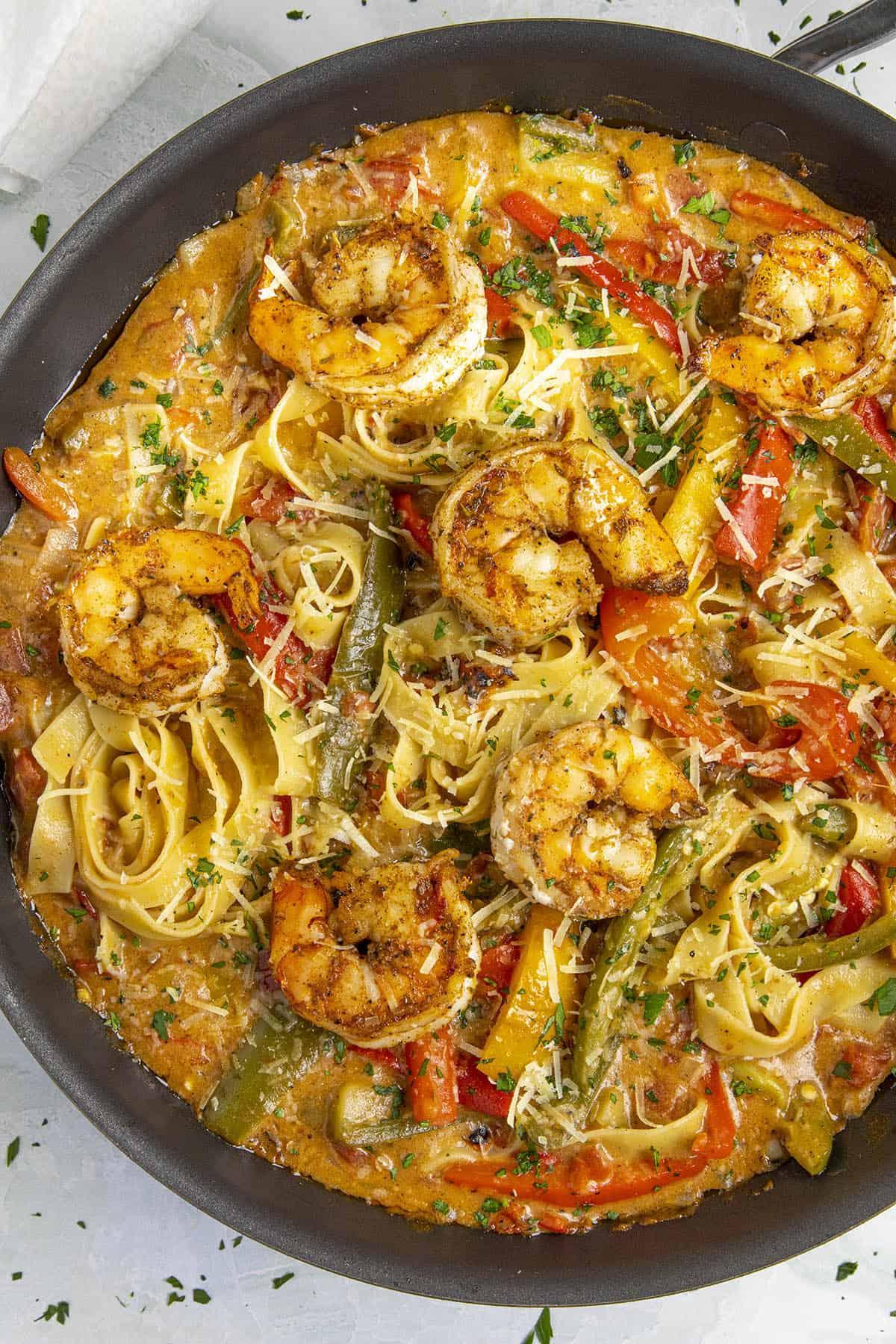 Rasta Pasta with shrimp in a pan