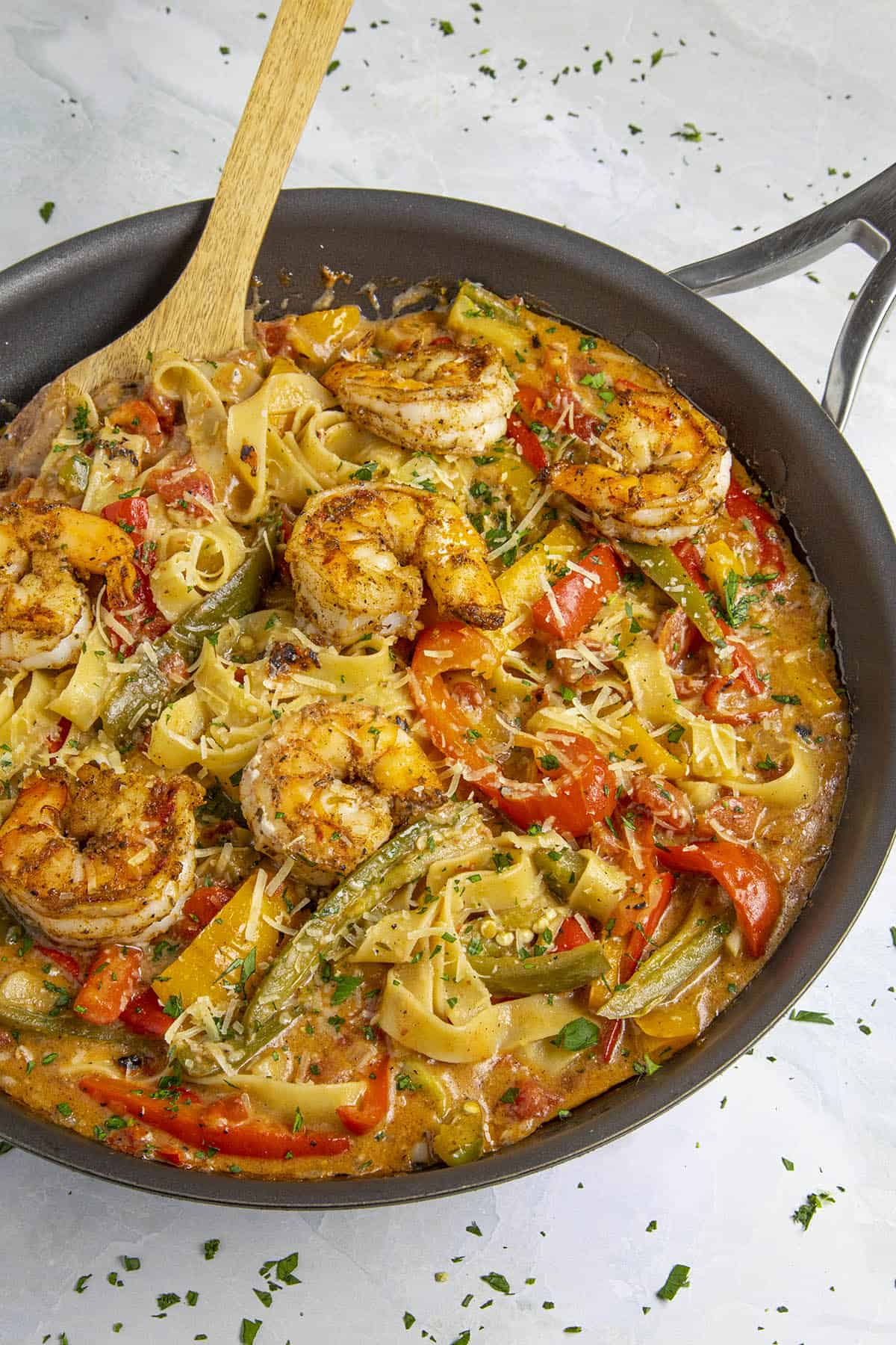 Rasta Pasta with shrimp in a pan, ready to serve