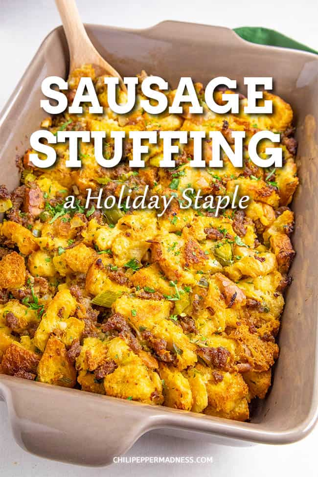 Sausage Stuffing Recipe - This sausage stuffing recipe is perfect for the holidays, with loads of crumbled sausage, herbs, seasonings, and cubed bread. It\'s the side dish everyone craves. #Stuffing #HolidayRecipes #SideDish
