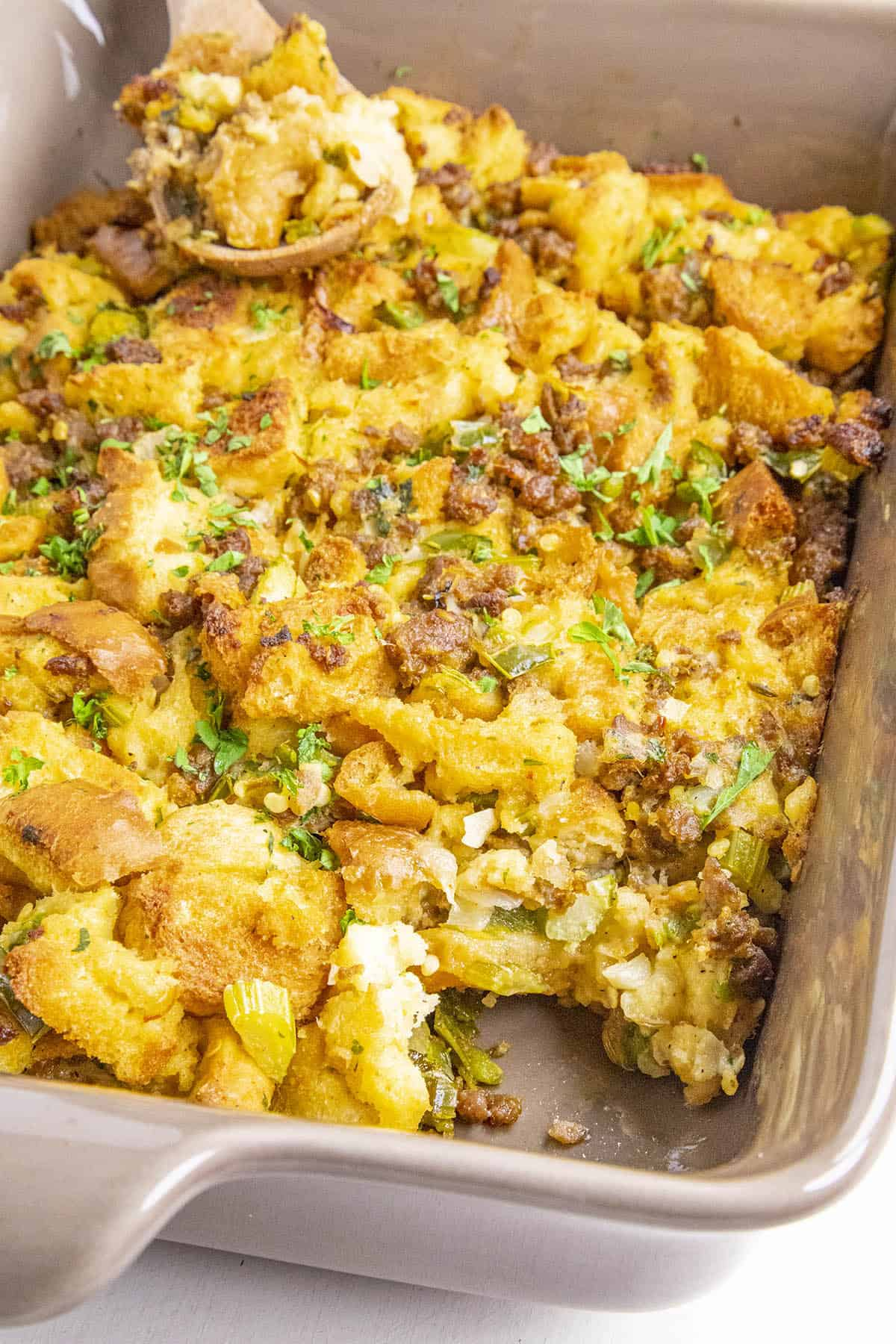 Serving up our Sausage Stuffing