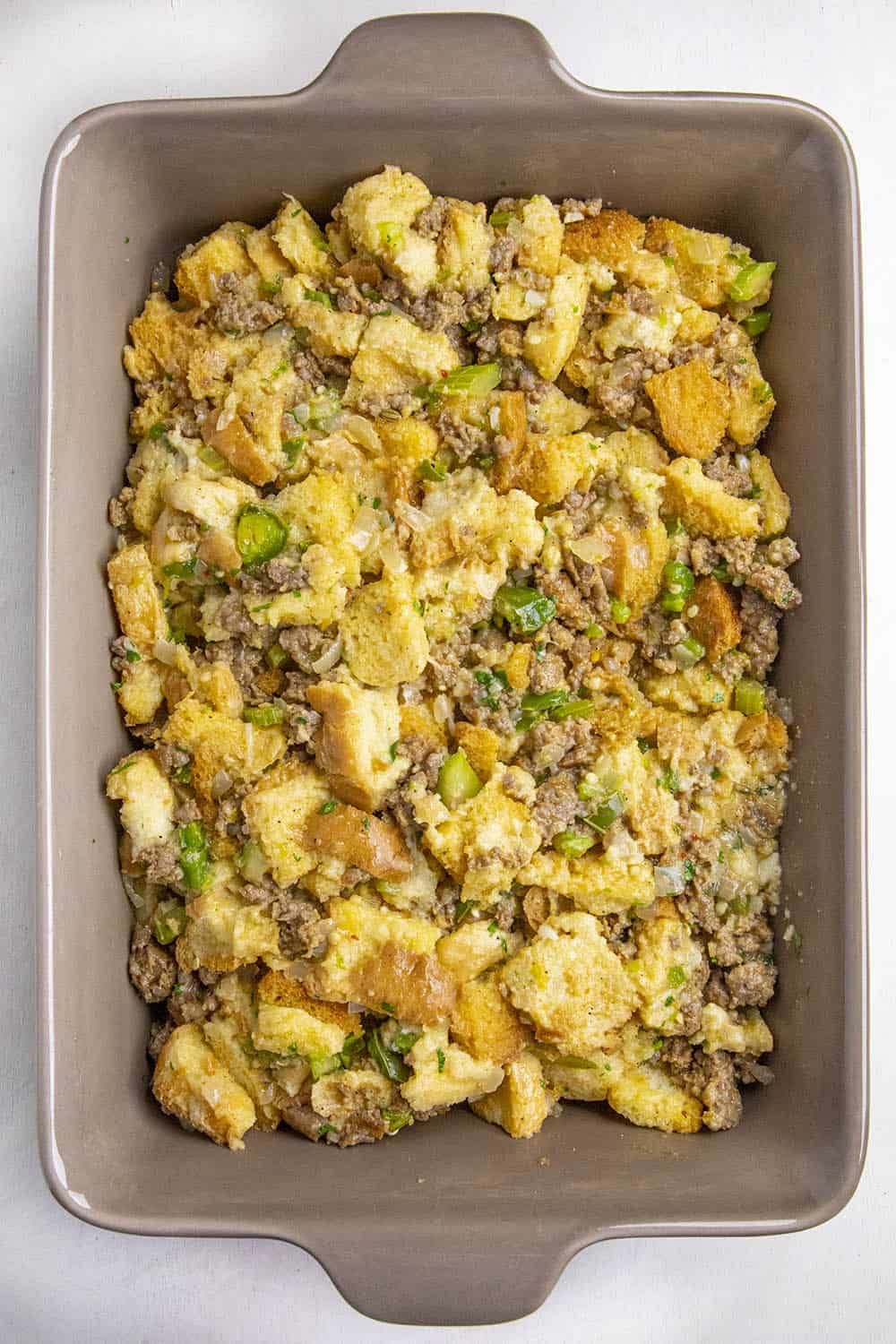 Sausage Stuffing ready for the oven