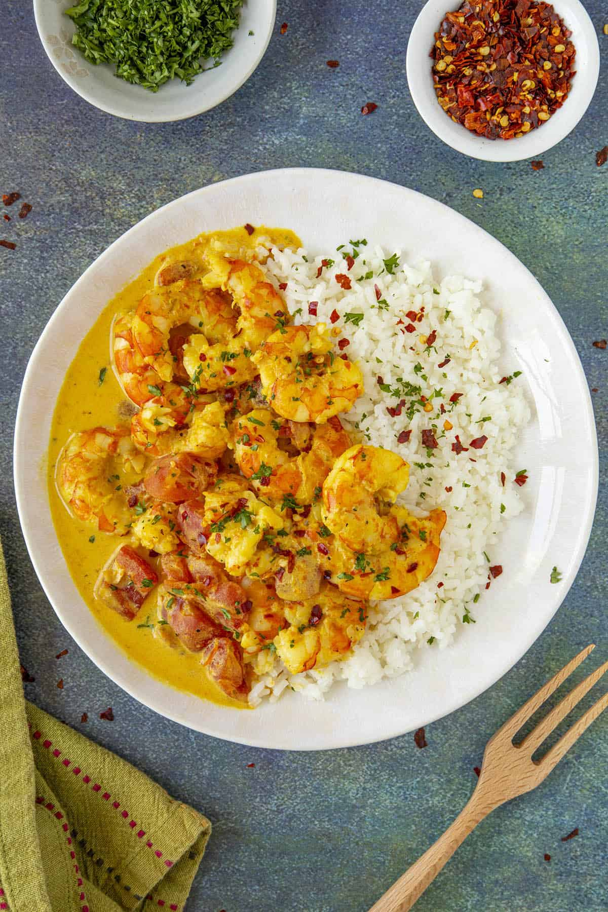 Thai Curry Shrimp Recipe in a bowl with lots of garnish