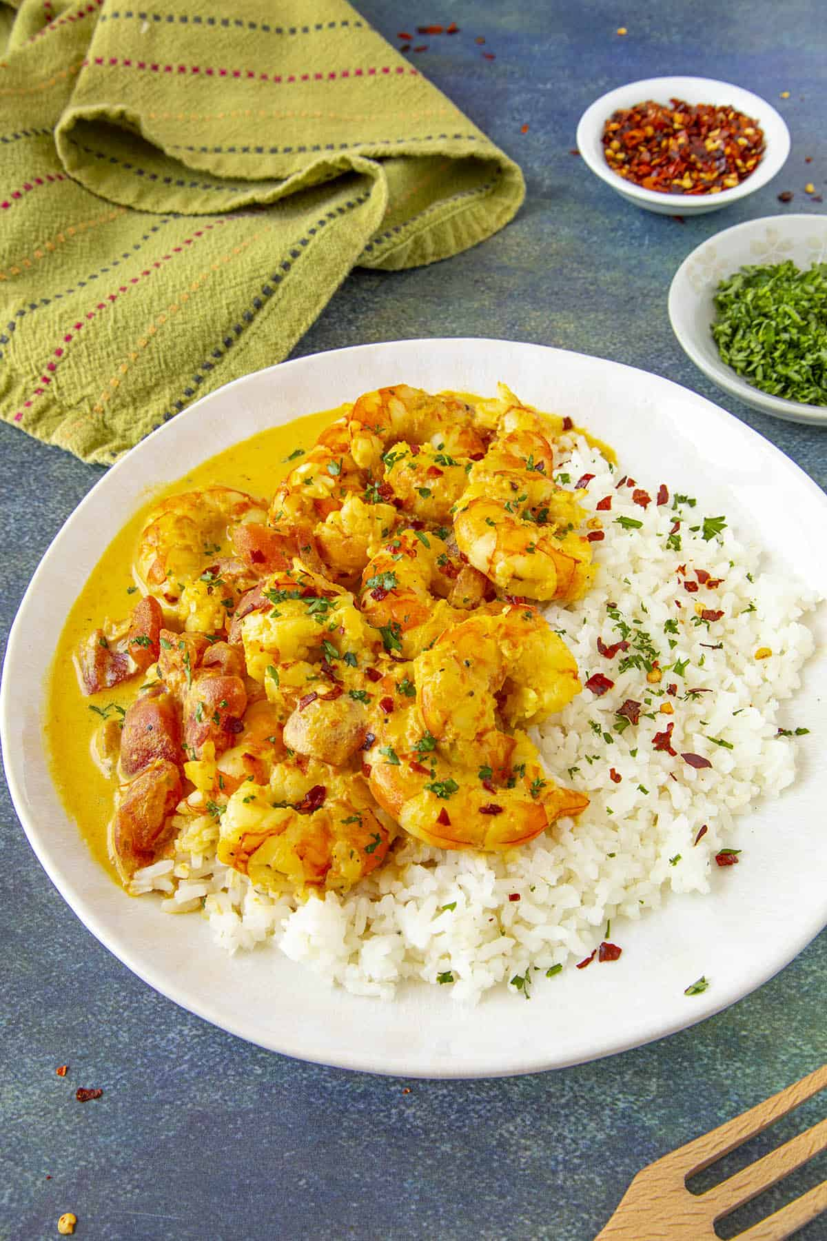 Thai Curry Shrimp served over white rice