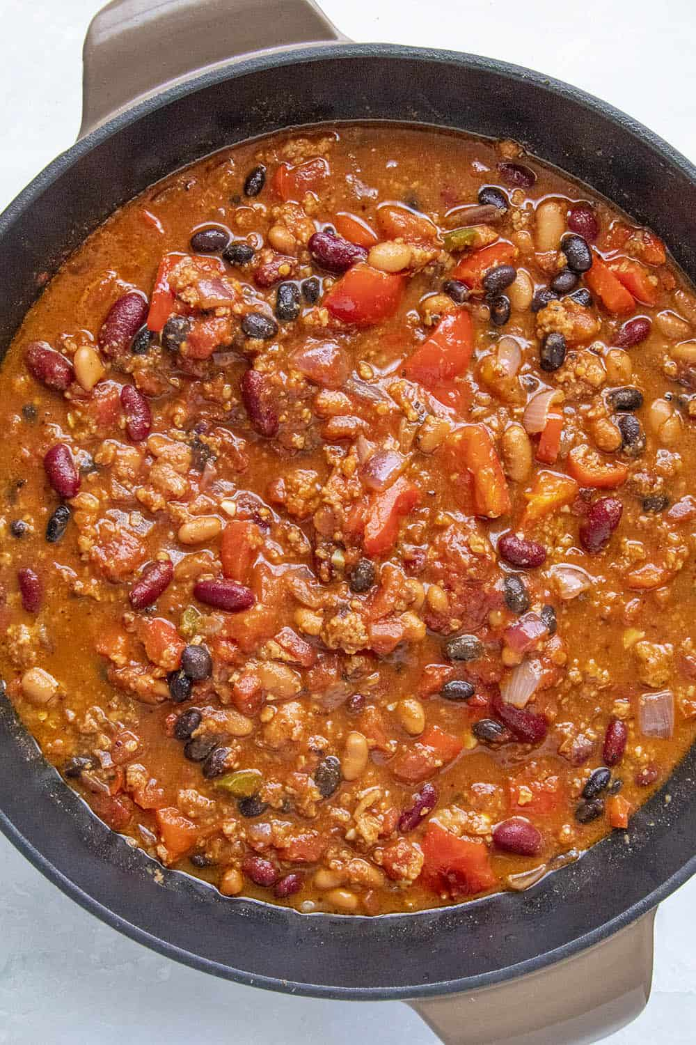 Chunky Vegetarian Chili simmering in the pot