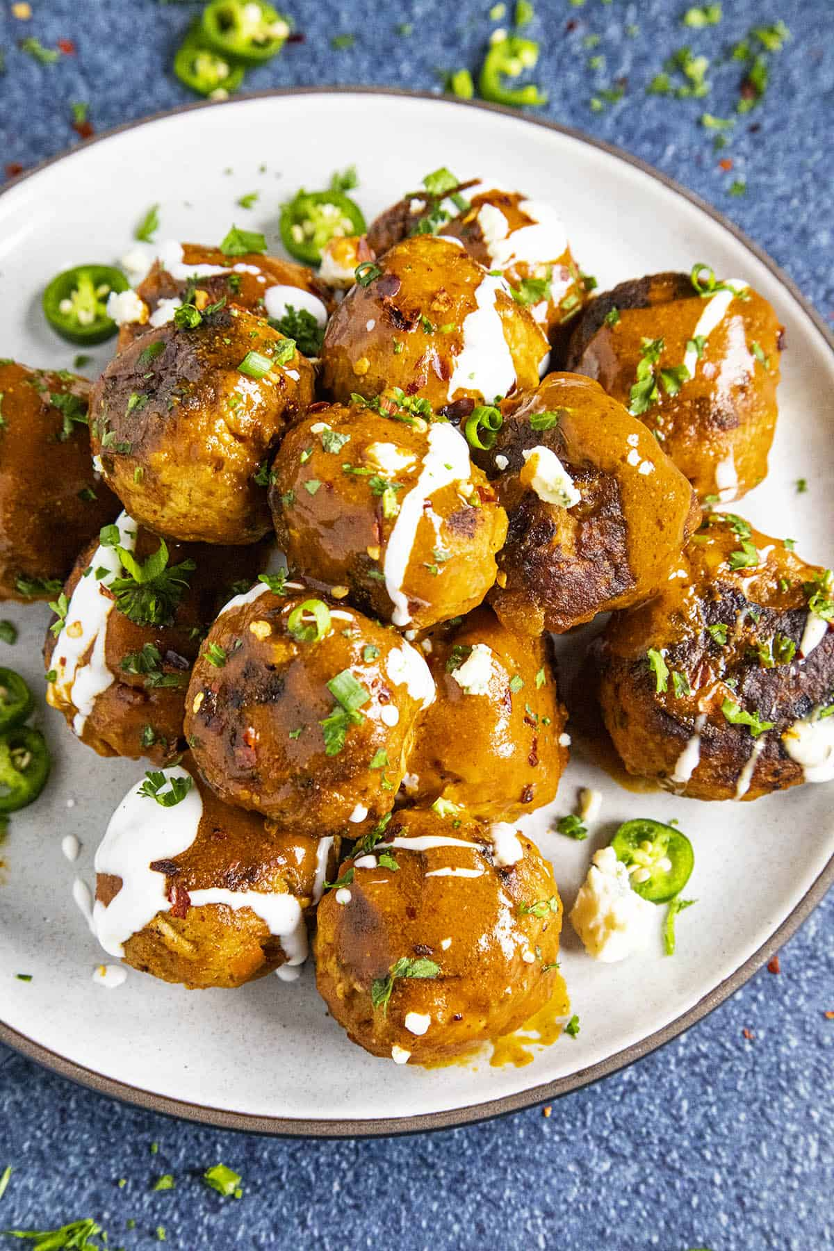 Saucy Buffalo Chicken Meatballs on a plate, ready to eat
