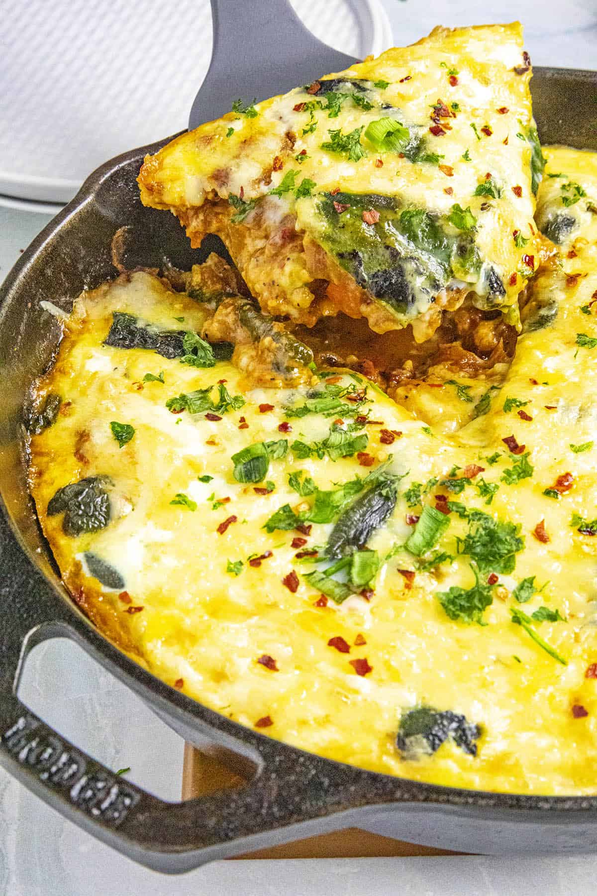 Serving up a slice of Chile Relleno Casserole