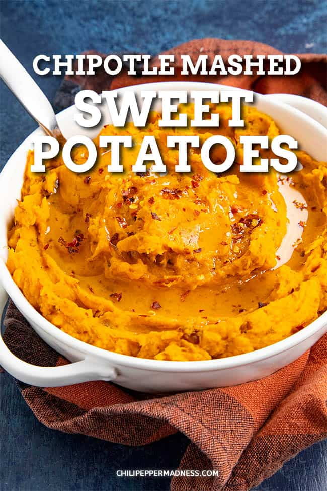 Chipotle Mashed Sweet Potatoes - This chipotle mashed sweet potatoes recipe is extra creamy and just a touch spicy, perfect for the holiday table or for anyone who loves sweet potatoes. An excellent side dish. #SideDish #SweetPotatoes