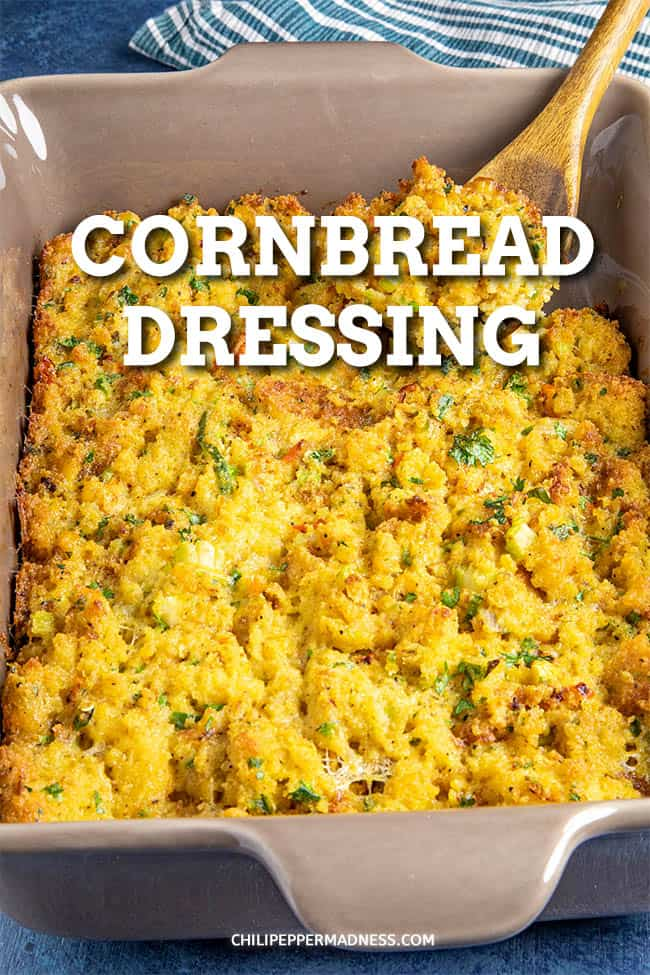 Cornbread Dressing Recipe - This cornbread dressing recipe is a must for the holidays, made with homemade cornbread and a flavorful Creole seasoning that gives it the perfect flavor. It\'s the perfect side dish! #SideDish #HolidaySideDish #Dressing #Stuffing