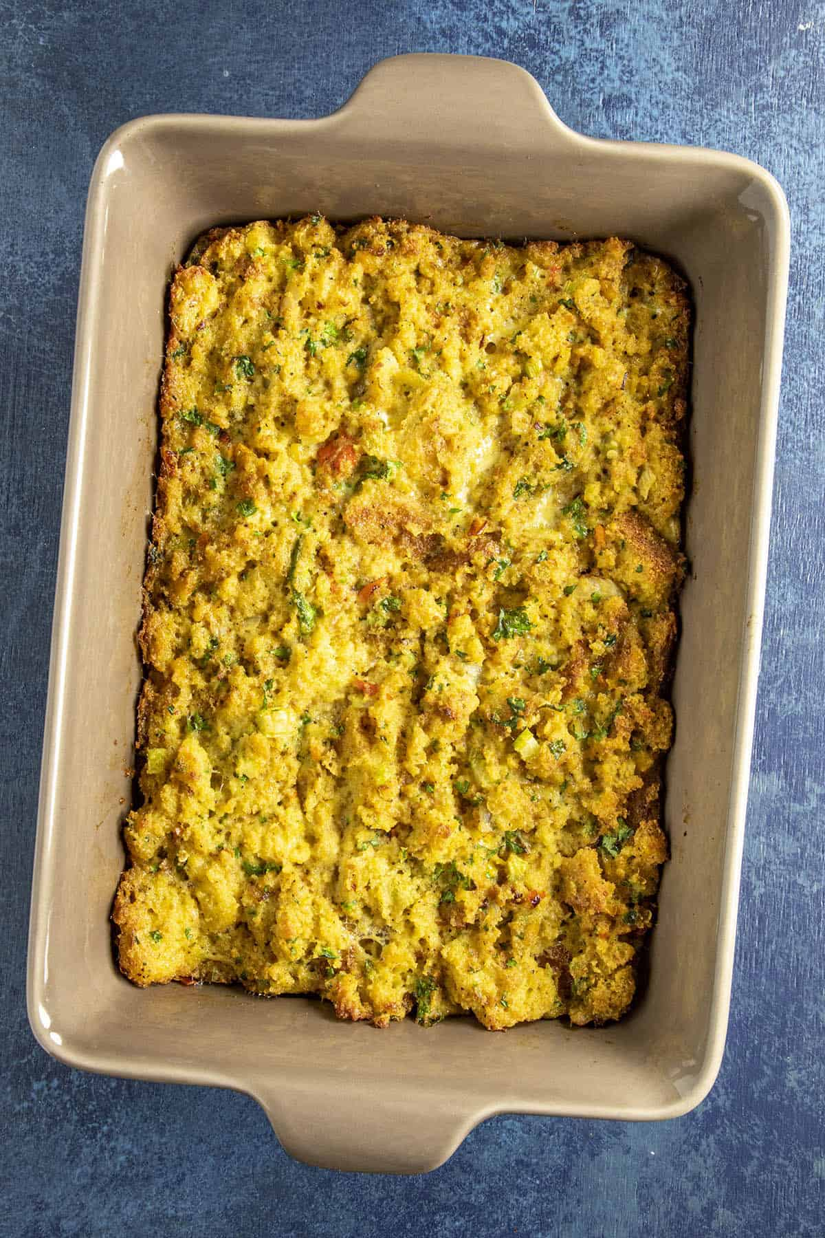 Cornbread Dressing, just out of the oven