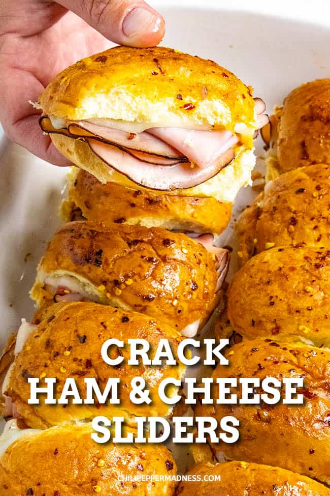 Spicy Crack Ham and Cheese Sliders. These spicy crack ham and cheese sliders are hugely popular for parties and beware, they are addictive. My version adds just the right touch of spice. #Sliders #PartyFood