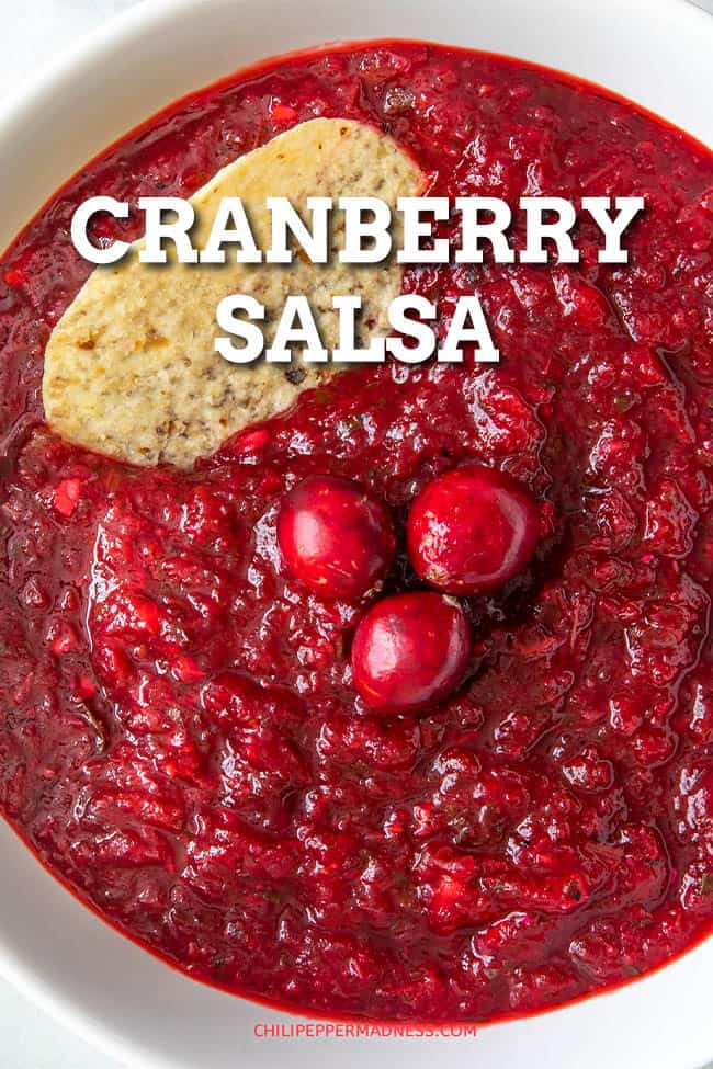 Spicy Cranberry Salsa - This cranberry salsa recipe is my cooked version that combines tart cranberries with spicy jalapeno peppers and more, then simmers them for the best cranberry salsa ever. #Cranberry #Salsa