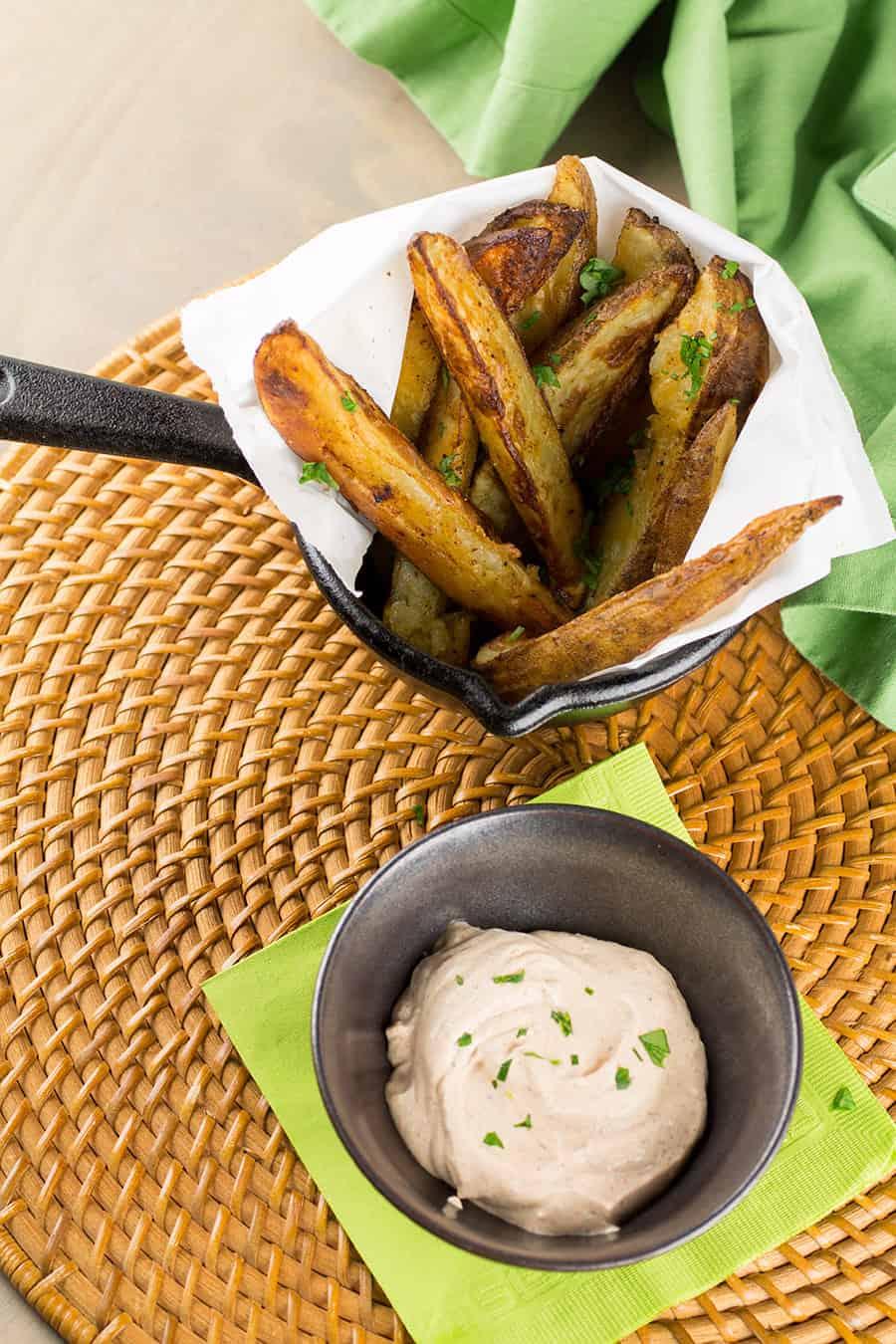 Baked Cajun Potato Wedges with Cajun Dipping Sauce