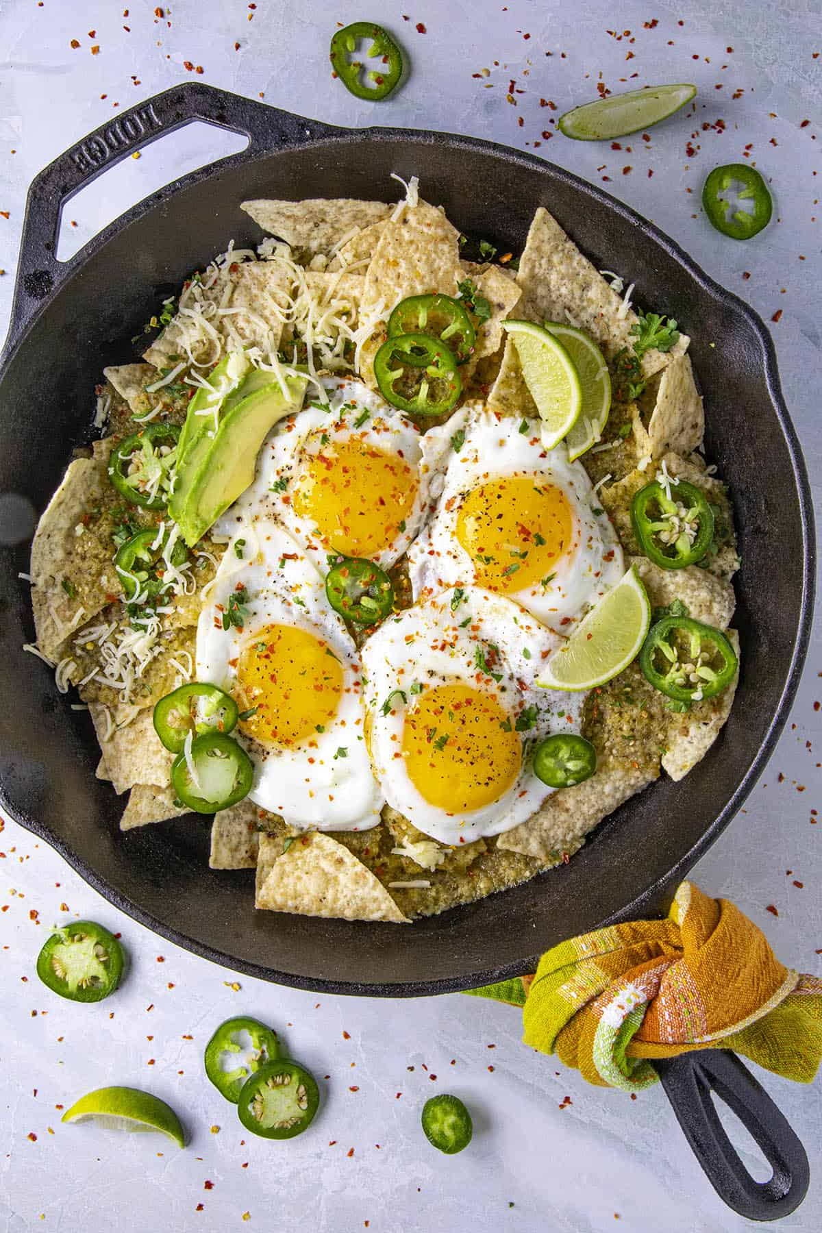 Chilaquiles Verdes in a pan, ready to serve