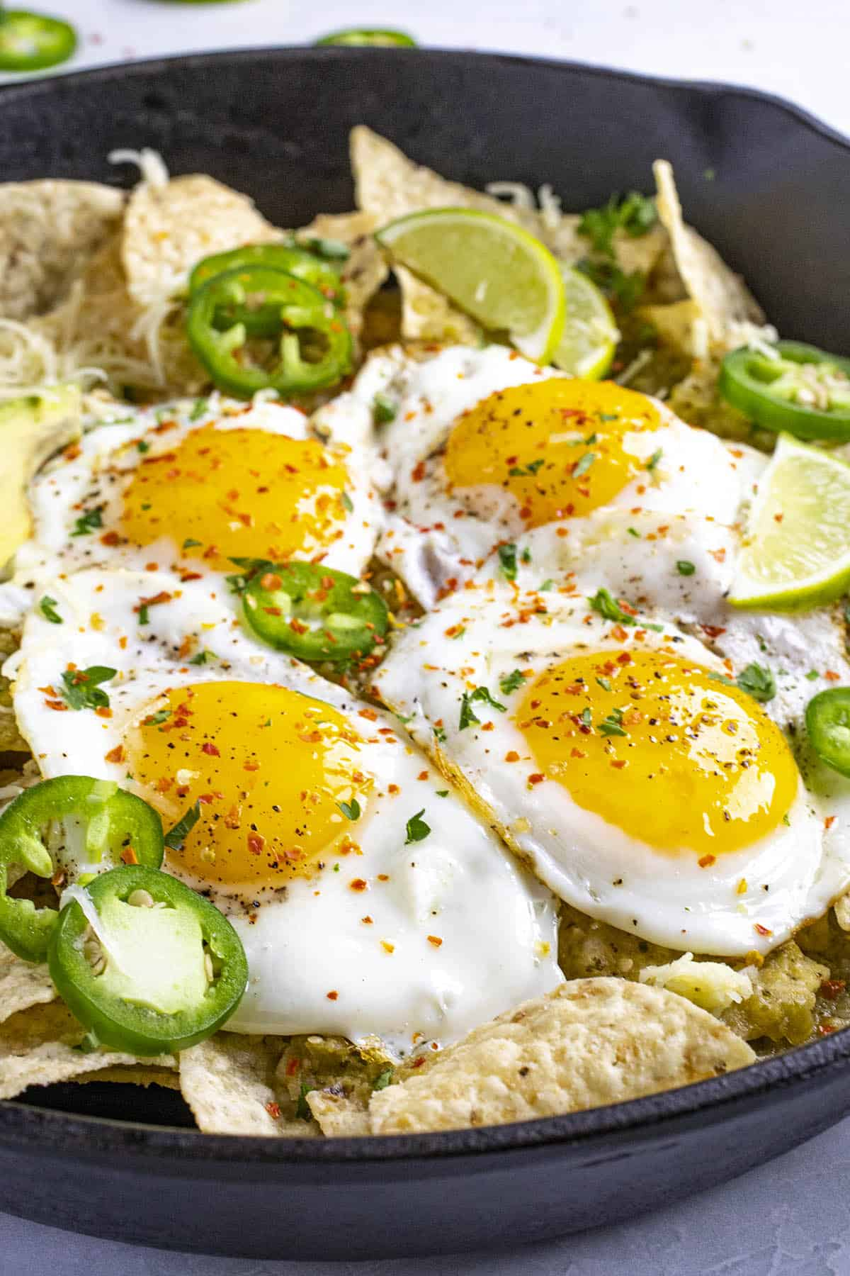 Chilaquiles Verdes in a pan