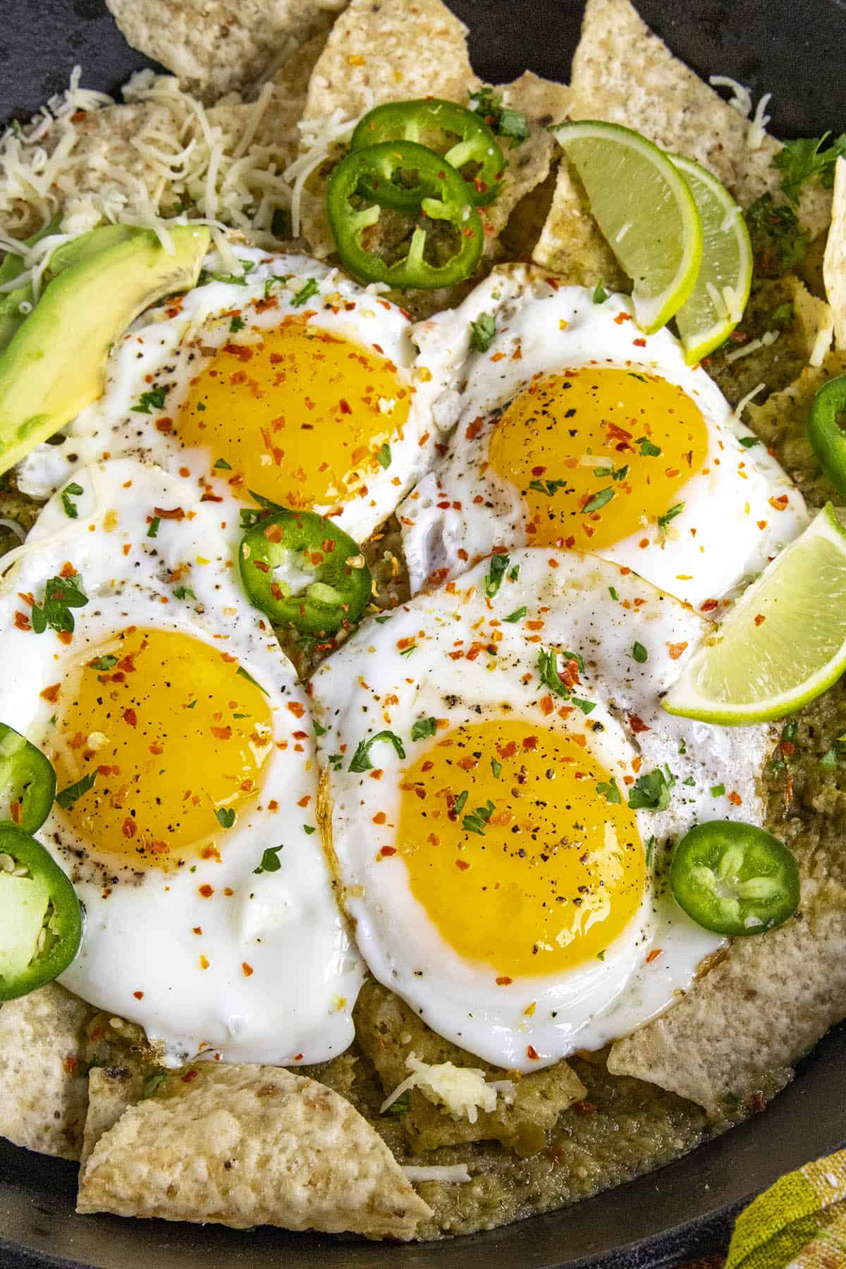 Fried eggs on my Chilaquiles Verdes
