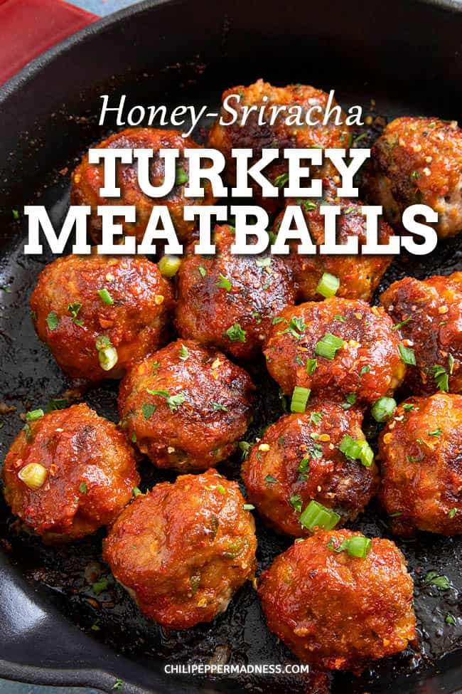 Honey-Sriracha Turkey Meatballs - These honey-sriracha turkey meatballs are the perfect appetizer, glazed with spicy sriracha and honey. Great for game day or the star of the meal! #turkeymeatballs #sriracha #appetizers #groundturkey