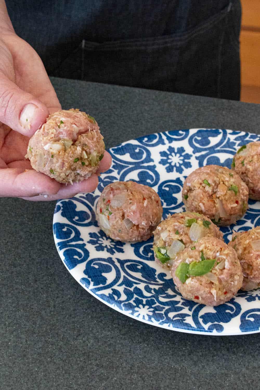 Rolling the turkey meatballs