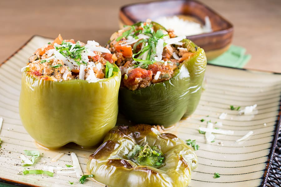 Italian Stuffed Peppers on a plate, ready to serve