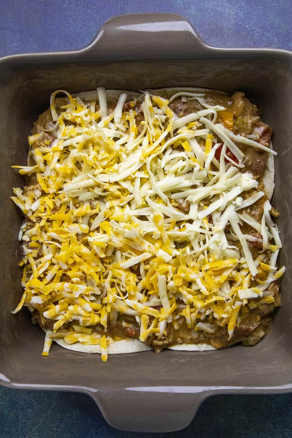 A layer of cheese on the King Ranch Casserole