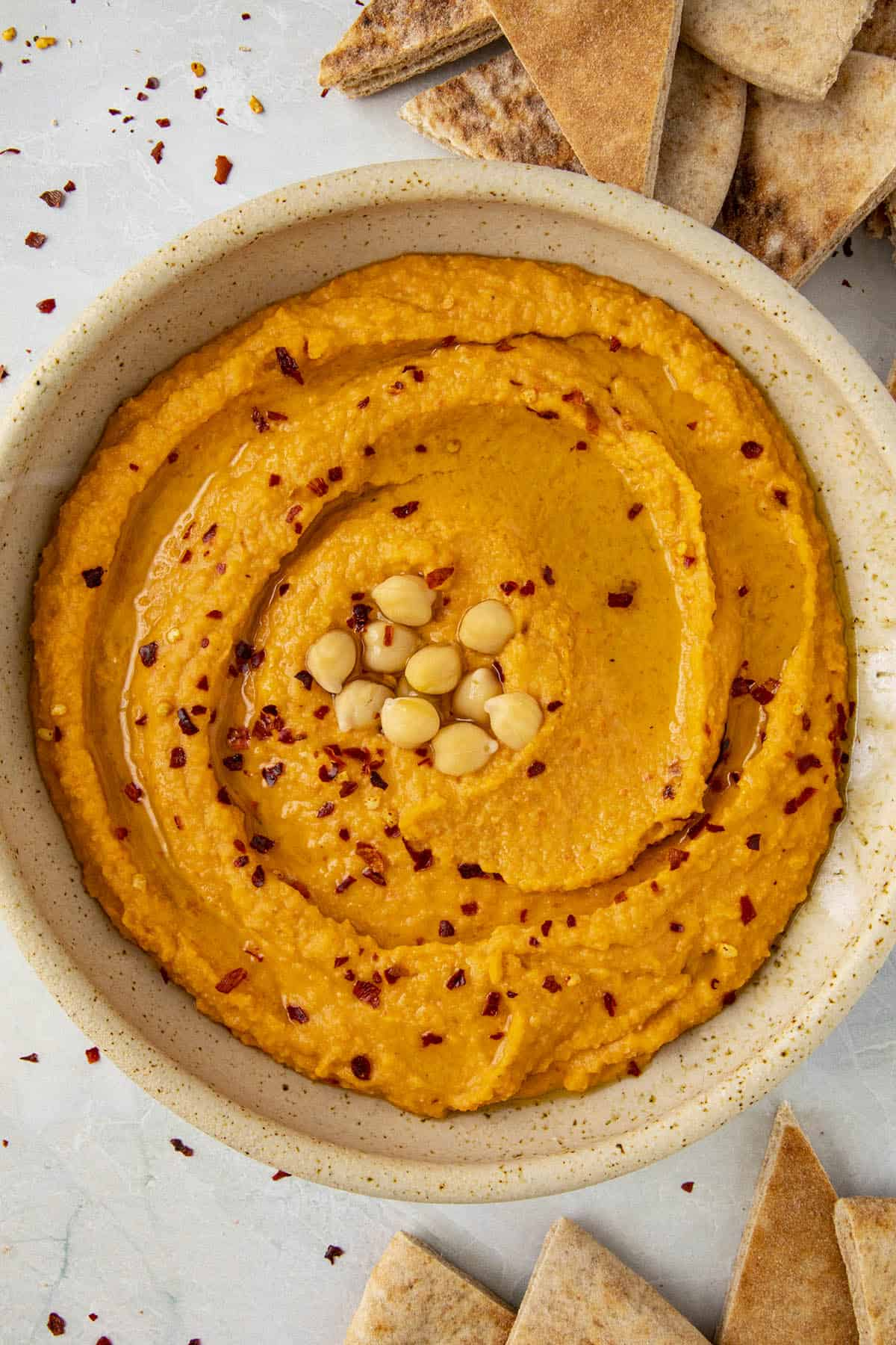 Creamy Roasted Red Pepper Hummus in a bowl