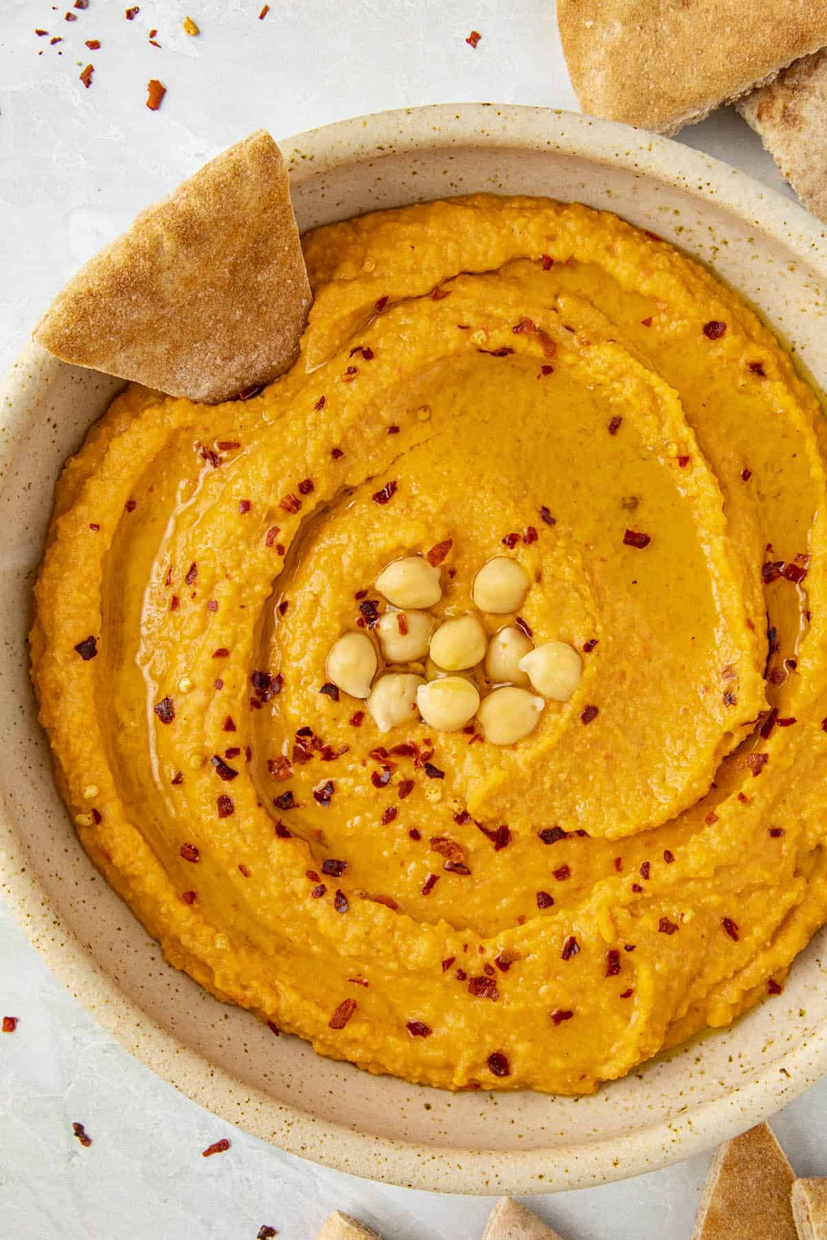 Roasted Red Pepper Hummus in a bowl, ready to serve