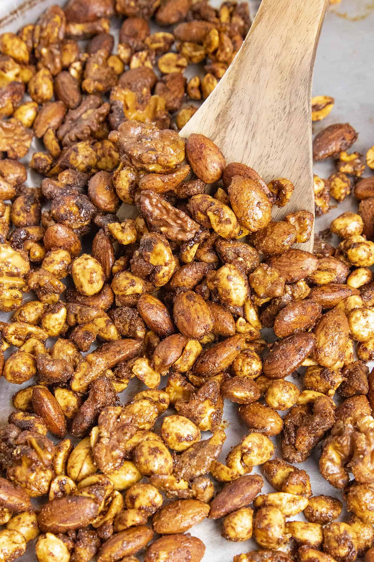Spiced Nuts in a baking dish, ready to enjoy
