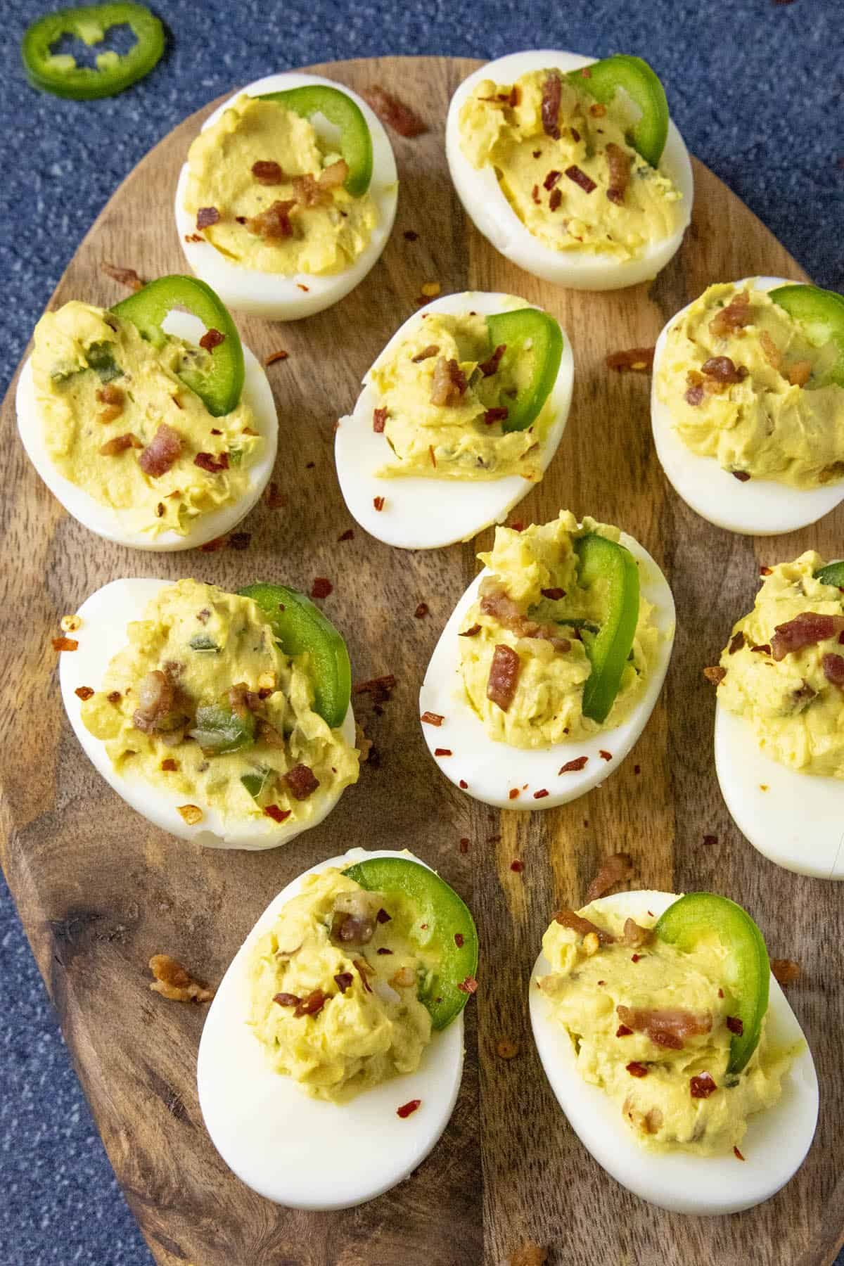 Spicy Deviled Eggs with Bacon and Jalapeno