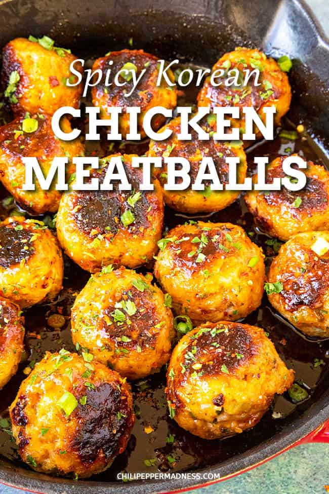 Spicy Korean Chicken Meatballs Recipe - The perfect appetizer, glazed with a mixture of spicy Korean gochujang and pepper jelly. Stove top or oven baked. You\'ll love the sauce. Serve them up for game day, or make them the star of the meal! #gochujang #keto