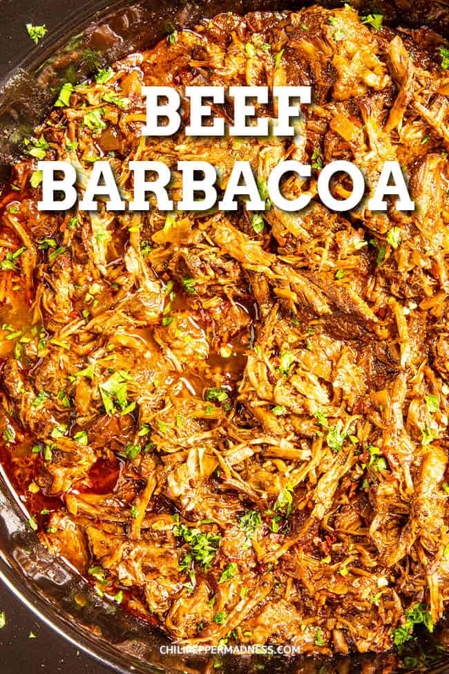 Beef Barbacoa - This beef barbacoa recipe is big on flavor and easy to make with seasoned shredded beef cooked low and slow in a slow cooker or crock pot until fork tender. Perfect for tacos!#shreddedbeef #slowcooker #crockpot