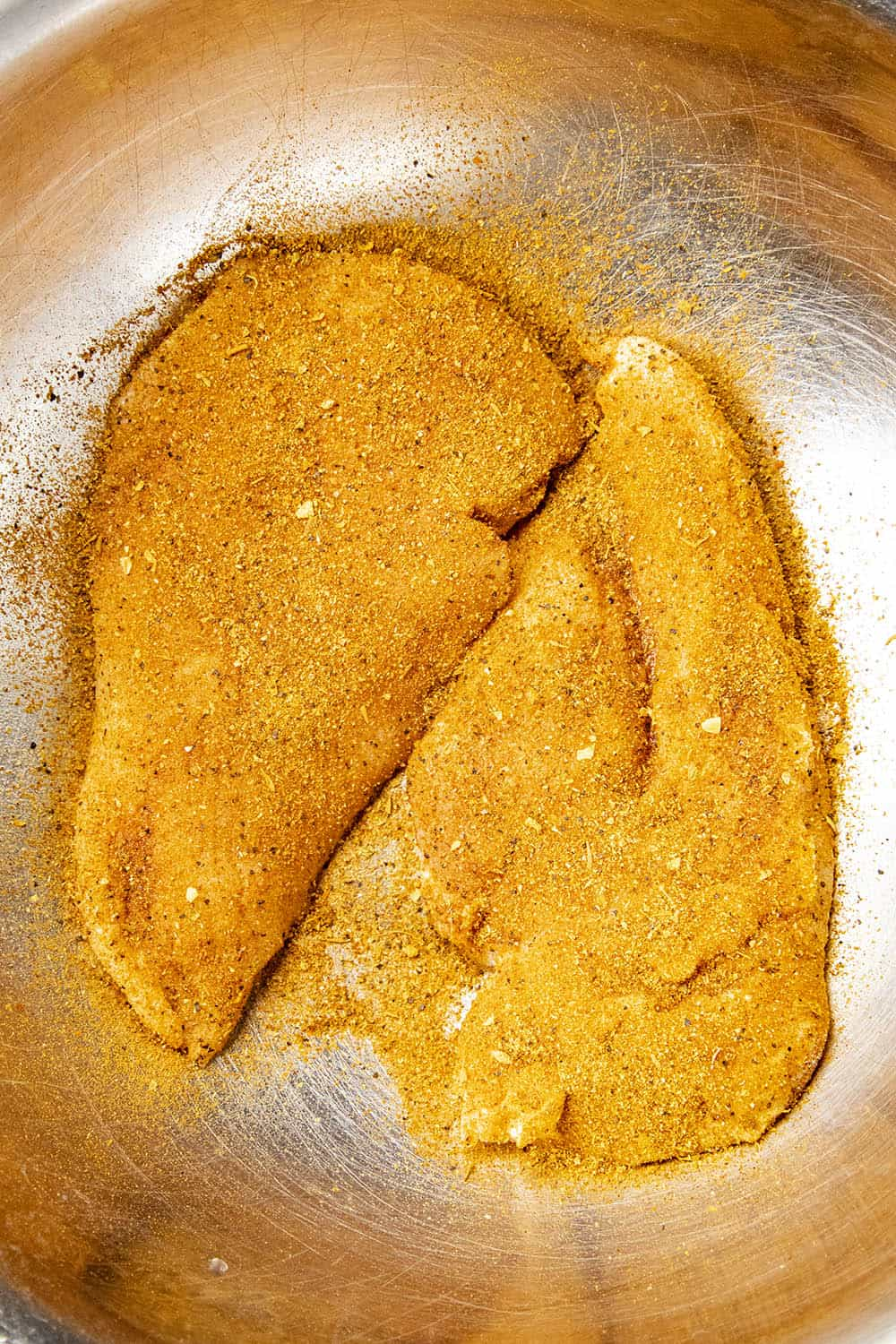 Chicken breasts coated with blackening seasoning