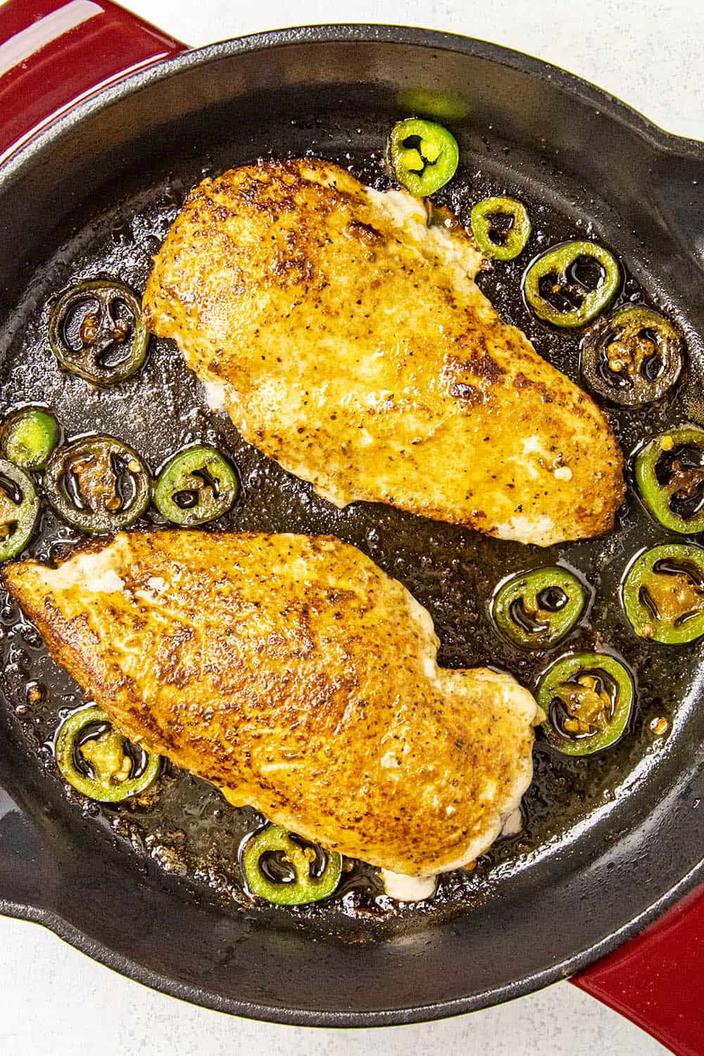 Juicy Blackened Chicken breasts, just seared